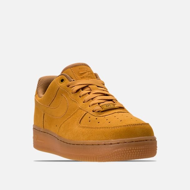 new style a5510 12b82 Three Quarter view of Women s Nike Air Force 1  07 SE Casual Shoes in Mineral  Yellow Gum Light Brown