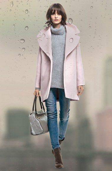 Calvin Klein Pink Notch Collar Coat, Trouvé Sweater & AG Jeans  available at #Nordstrom
