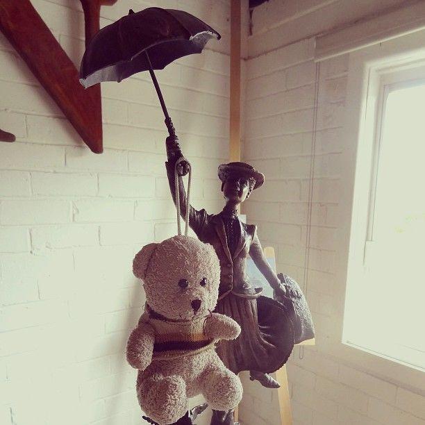 #teddy embarking on a #flight of #fantasy. See the #teddies blog www.teddybearlife.com #disney #marypoppins #musical #teddybear #flying #umbrella #sculpture #socute #bronze #photooftheday #picoftheday #art #story #movie #julieandrews #song #perform