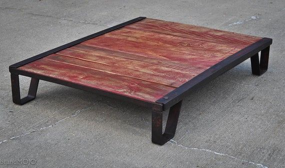 Vintage Industrial Moldmaker 39 S Table Red Coffee Table 48x36x8 Rustic Furniture