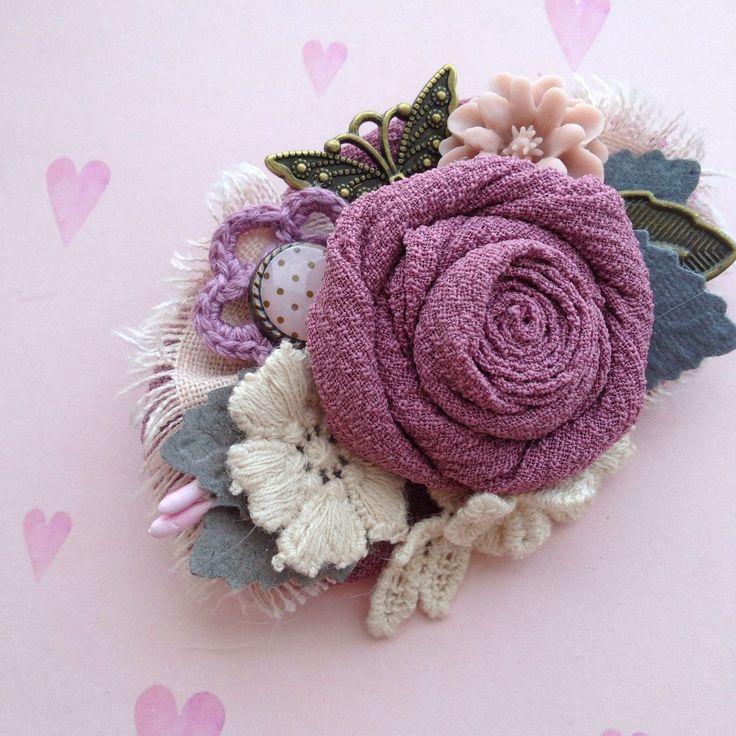 Купить Брошь-цветок,выполненная в смешанной технике. - лето 2017, весна-лето, весна 2017