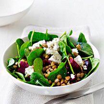 Lentil beetroot and feta salad - beetroot, balsamic, olive oil, brown lentils, baby spinach, feta