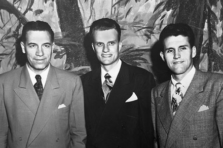 The Early Team (L to R). George Beverly Shea, Billy Graham and Cliff Barrows.