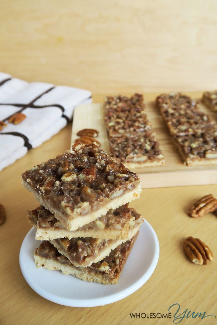 Salted Caramel Pecan Pie Bars (Paleo, Low Carb) | Wholesome Yum - Natural, gluten-free, low carb recipes