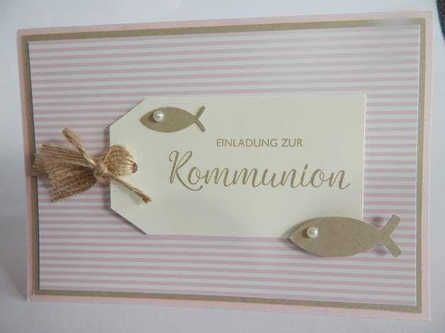 Einladung Einladungskarte Kommunion Konfirmation Taufe Fisch gold creme beige