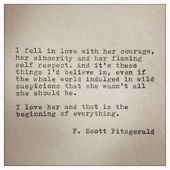 F. Scott Fitzgerald Typewriter Quote on LOVE / handtyped quote / typewriter…