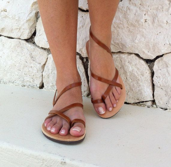 women sandals strap sandal brown sandals leather by GrecianSandals