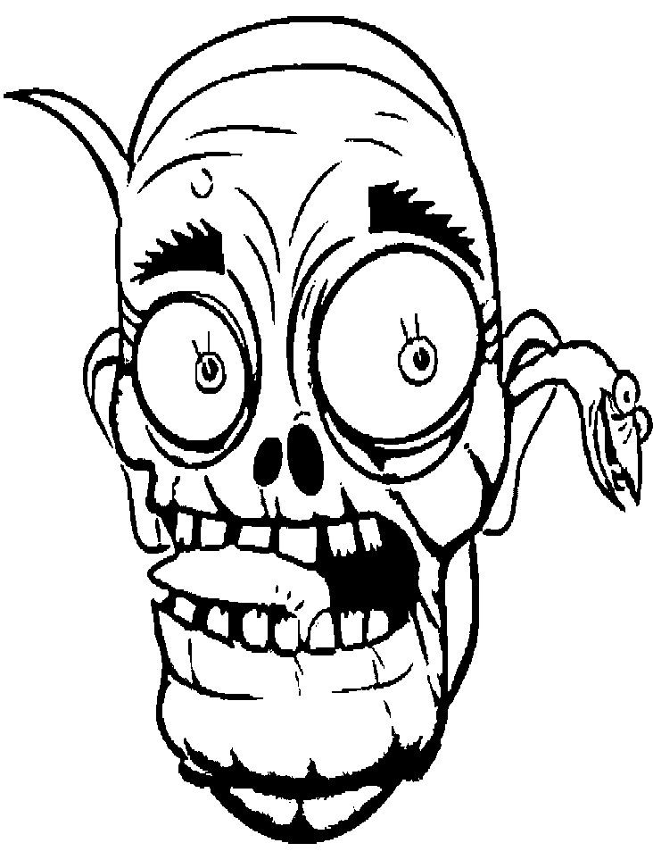 Face Cartoon Zombie Coloring Page