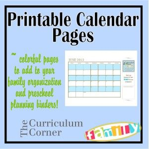 FUN and FREE printable calendar pages for your organization binders.  Each includes a great quote.  All from www.thecurriculumcornerfamily.com.