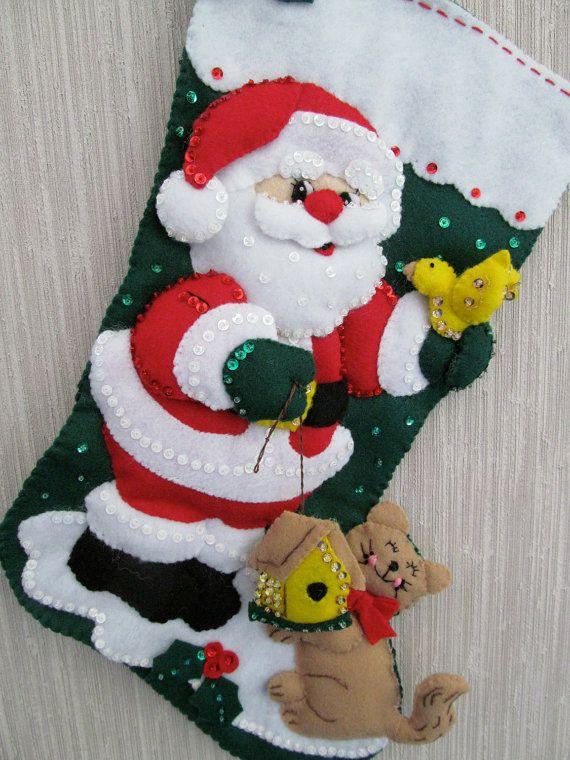 Fieltro de Bucilla media Santa & Kitty terminado rara