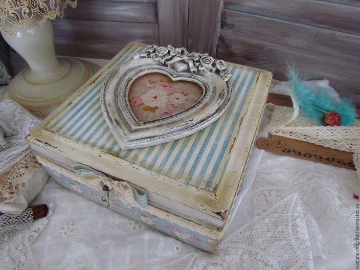"""Купить Короб """"Волшебный ключ к сердцу.."""" - голубой, розовый, чай, короб для хранения, сахарница"""