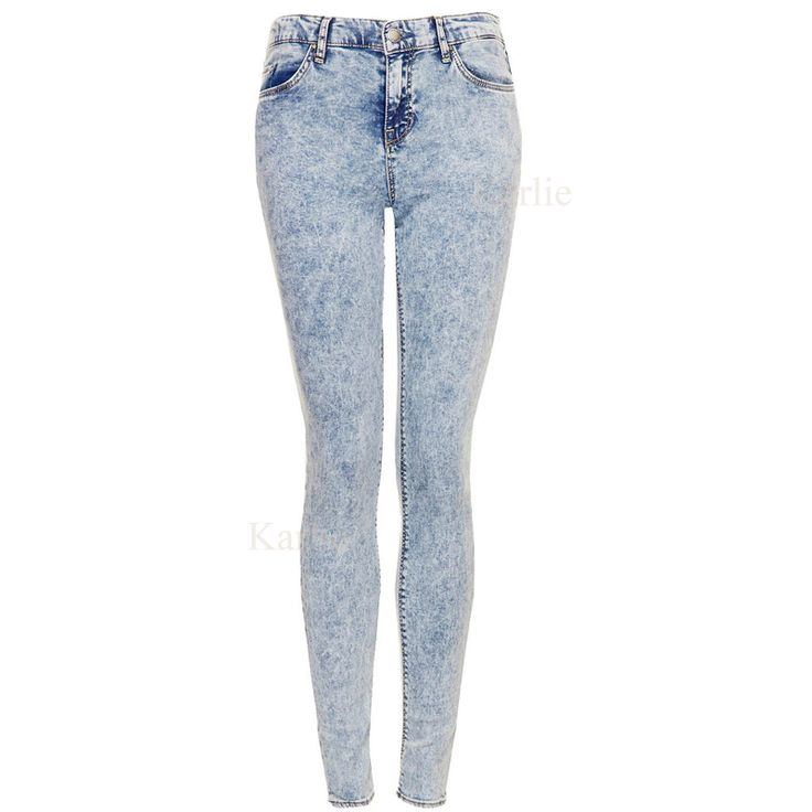 Details about New Womens Skinny Jeans High Waisted Acid Wash
