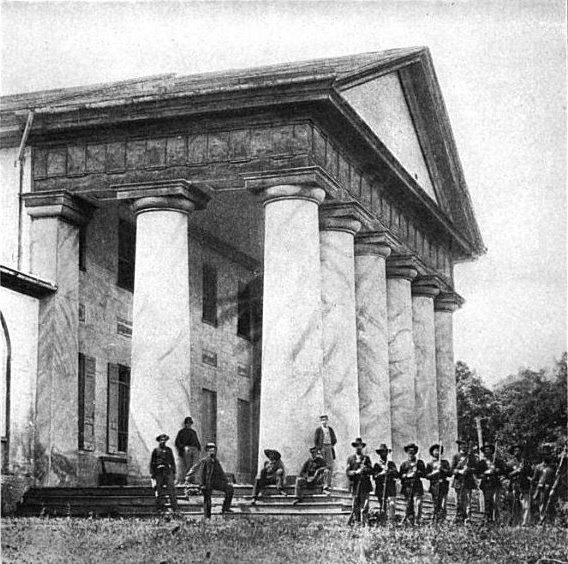 Arlington House, the home of Robert E Lee and his family.  The US turned the land into a cemetery so Lee could never come home. - Civil War