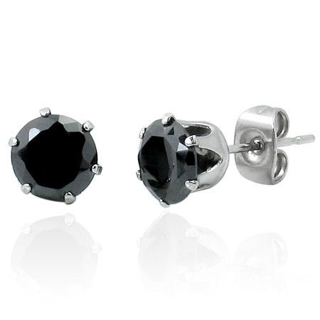 Mens Earrings Round Black Cz 8mm Studs Mensearrings Mensfashion Stoneset