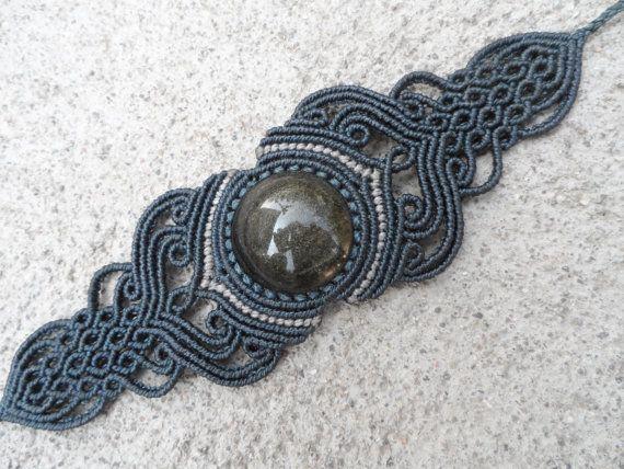 Or obsidienne bracelet macramé bleu foncé Pierre de par LaQuetzal