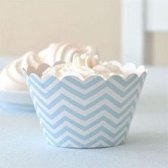 Chevron Blue Cupcake Wrappers