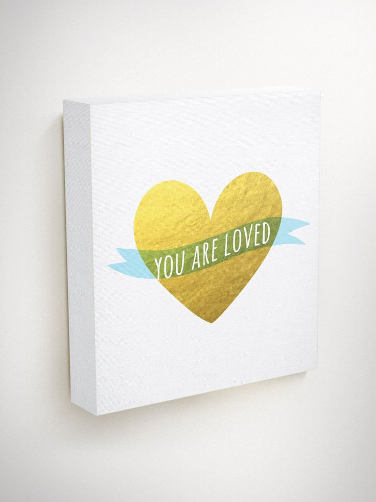 You Are Loved, Love Canvas Art, Love Quote Canvas, Heart Canvas, Gold Canvas Wall Art, Gold Heart, Heart Wall Decor, Wall Art Canvas Quotes by BlessedType on Etsy https://www.etsy.com/listing/246531444/you-are-loved-love-canvas-art-love-quote