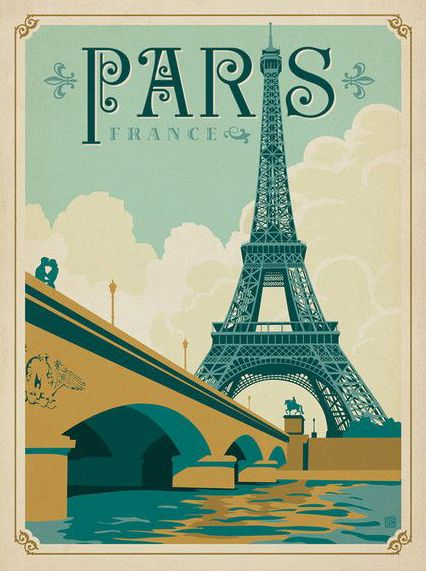 World Travel Paris Print Poster / Ancienne affiche publicitaire, vieille publicité