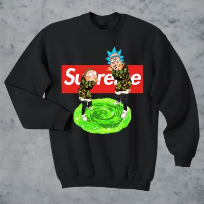 Rick and Morty Bape Supreme Sweater and Hoodie