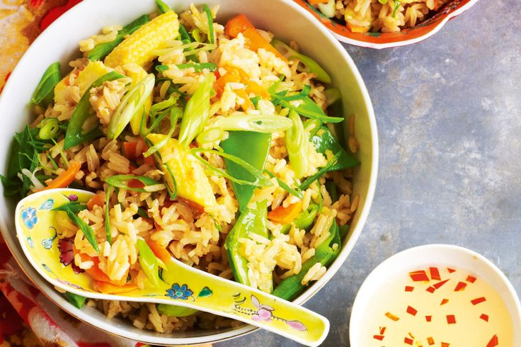 Toss the vegies and rice into a sizzling hot wok and stir-fry it fast for a delicious low-fat dish.