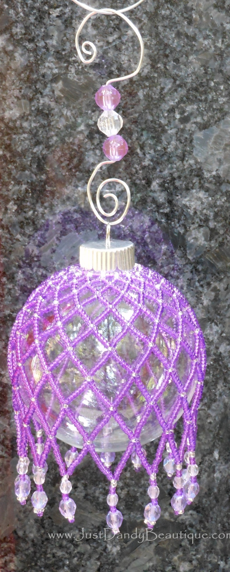 Beaded Zig-Zag Ornament Cover – Purple (Onrament and beaded hanger included)!  Buy online at www.justdandybeautique.com!