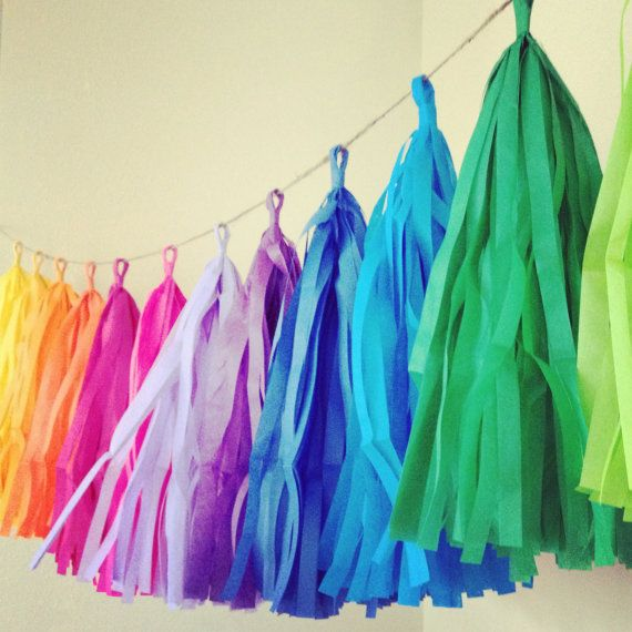Rainbow Fun ... tissue paper tassel garland // nursery // classroom // wedding decorations // birthdays // party decorations on Etsy, $30.00