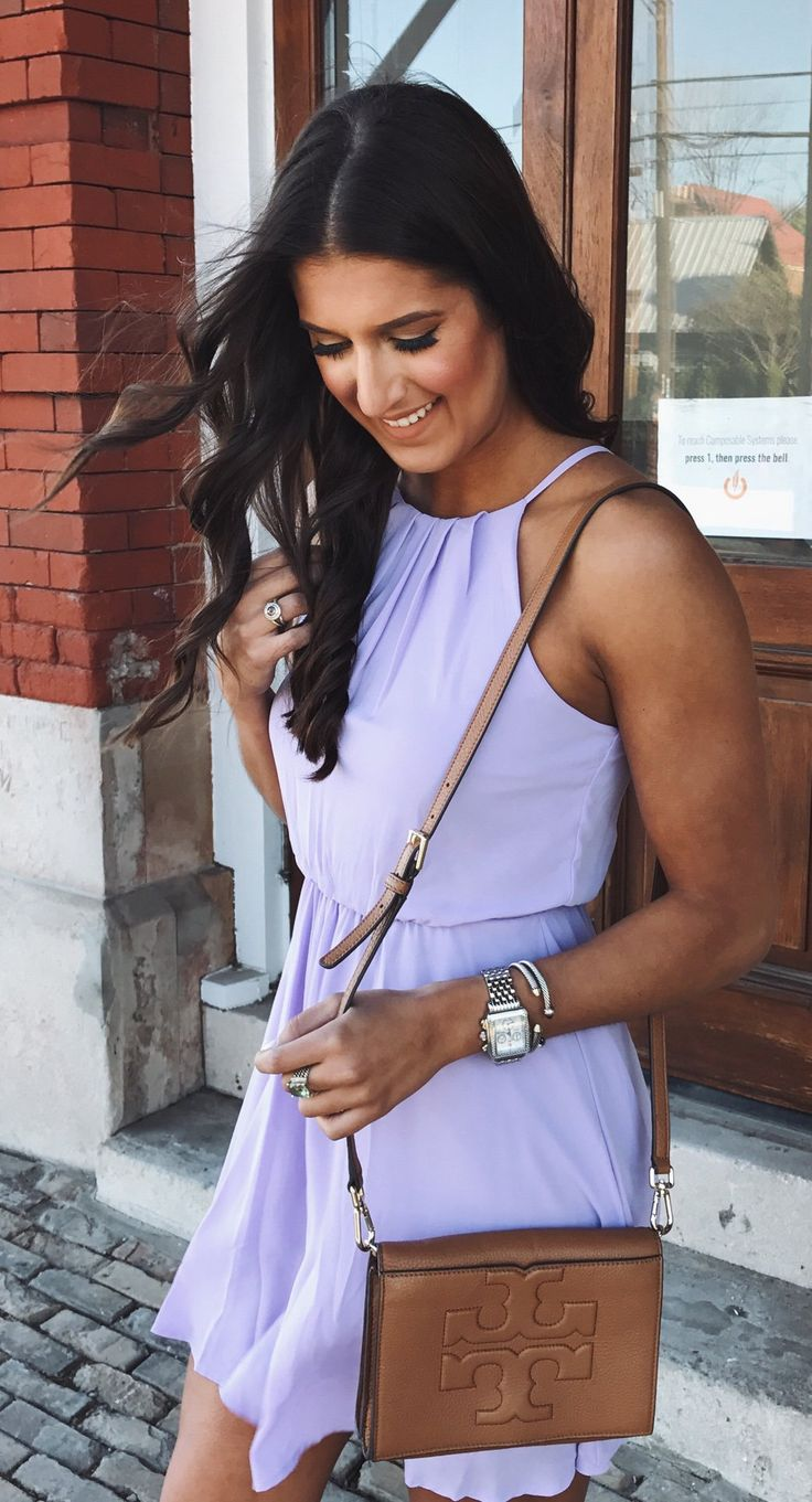 #spring #outfits  This Lilac Dress Is Under $50!  // Purple Dress & Camel Leather Shoulder Bag