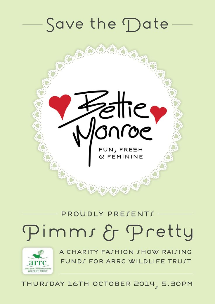 "Thank you to Jules Bly for organising and hosting a charity fashion show, ""Pimms and Pretty"" in conjunction with Bettie Monroe to be held on Thursday October 16th, from 5.30pm at the Mercedes showroom on Totara street, Mount Maunganui.  It will be raising funds for ARRC Wildlife Trust  www.arrc.org.nz with a fabulous fun-filled event with lots of pretty fashion, pretty drinks and pretty food.."
