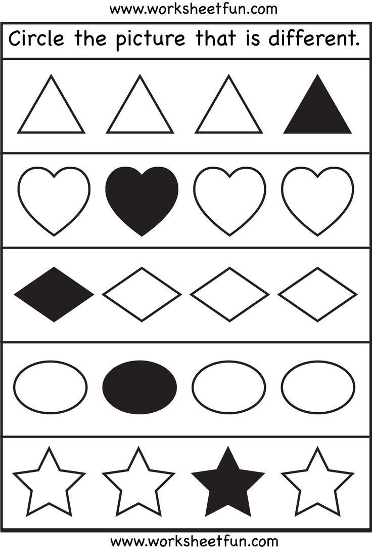 worksheet Same And Different Worksheets 1000 images about worksheets on pinterest for worksheet download more same or different shapes kindergarten preschool worksheets