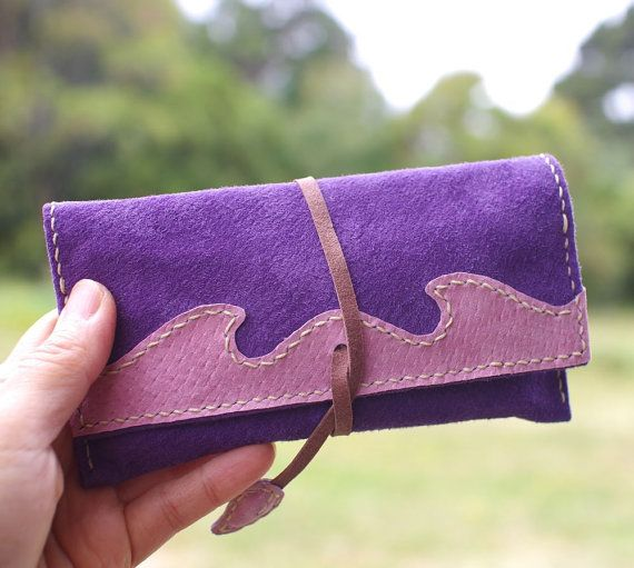 Leather Tobacco Pouch Color: Purple & Pink by TheRoadie on Etsy
