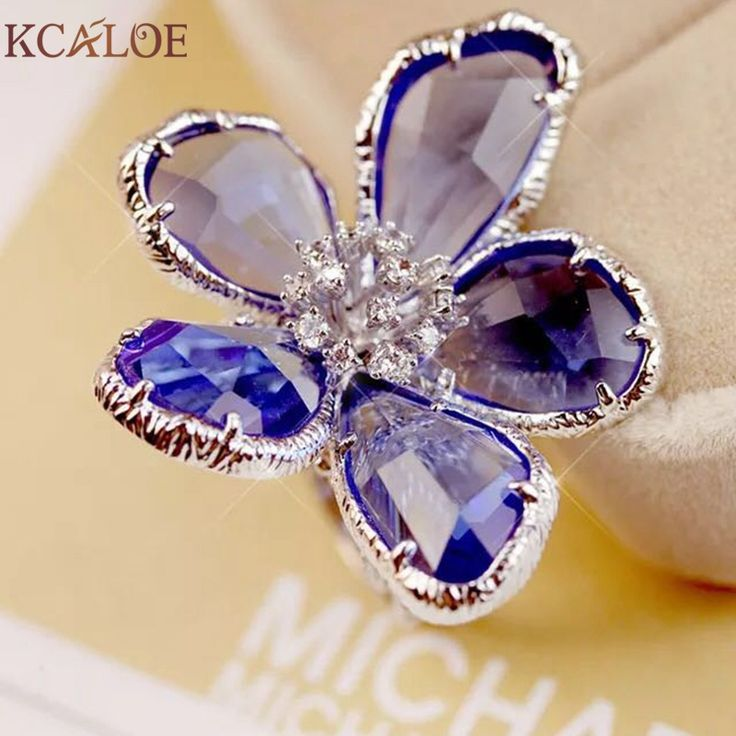 Flower Ring Big Rings For Women Engagement Wedding  Cocktail Fashion Silver Rose Gold Anillos Cristal Austriaco anillos de plata