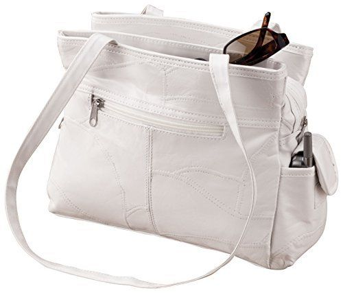 New Trending Purses: White Patch Leather Handbag. White Patch Leather Handbag   Special Offer: $15.37      211 Reviews Hard-to-find white patch leather handbag gives organization a new look. Leather handbag features 3 secure interior zip pockets and 4 exterior pockets: 1 zip, 1 open, smartphone pouch and umbrella pocket. White lining makes...