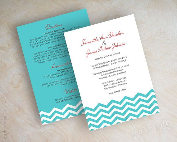 Teal Invitations Wedding: Teal Chevron Wedding Invitation, Chevron Invite, Chevron