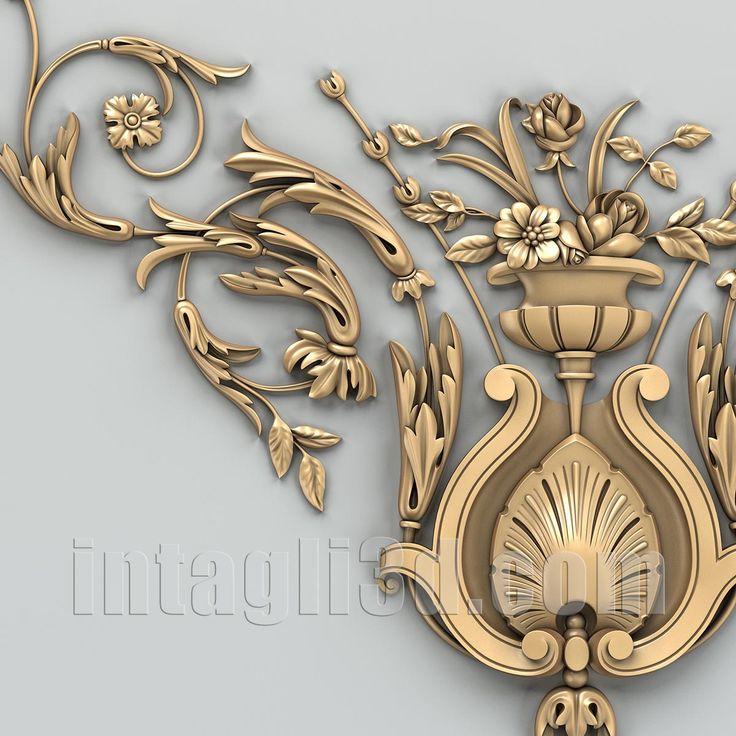 3D-model of decorative corner element for gypsum making for CNC carver (STL). Detail