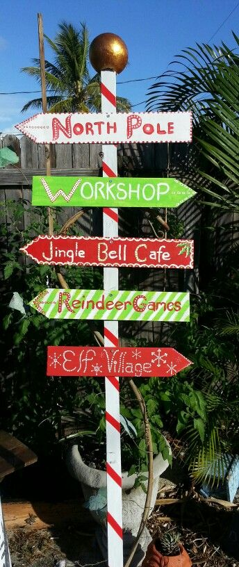 Christmas signs, DIY, yard art, North Pole sign, hand painted, Created
