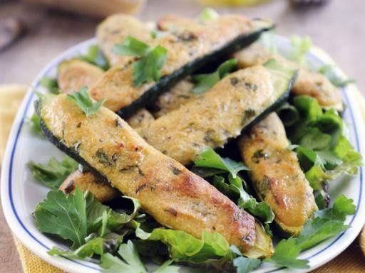 Ofengebackene Zucchini mit Parmesanfüllung -