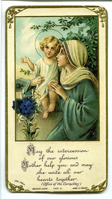 a stunning little blessing card. I was always given these by the elderly ladies at my church. Never really knew what it was until i took Art history classes and understood more about them. Now i think they are stunning little cards to give someone who just needs a little push
