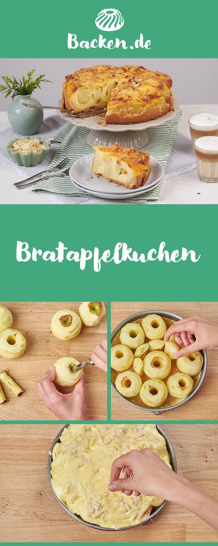 Ein besonderer Genuss in der kalten Jahreszeit – Bratapfelkuchen mit einer Füllung aus Rum-Rosinen. Wer mag, lässt ihn sich lauwarm, frisch aus dem Ofen schmecken.