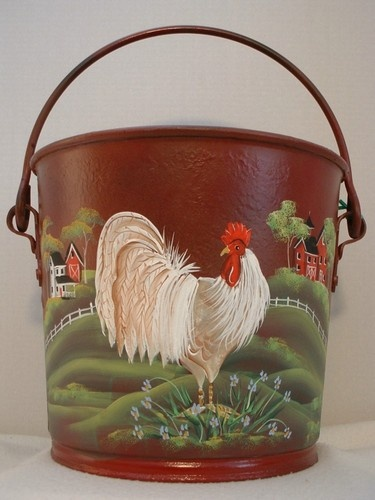 Vintage Country Rooster Metal Dairy Pail Milk Bucket Folk Art Tole by JMD