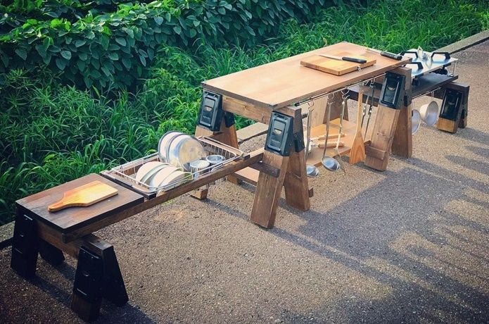 天才アイデア キッチンテーブル 兼 積載ラック ギア発明者を直撃 Camp Hack キャンプハック アウトドア テーブル おしゃれ キッチンテーブル アウトドア テーブル 自作