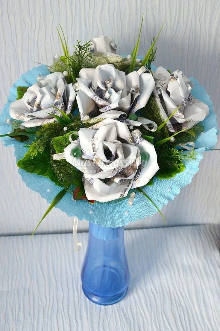 оригами из денег схема сердце с цветком