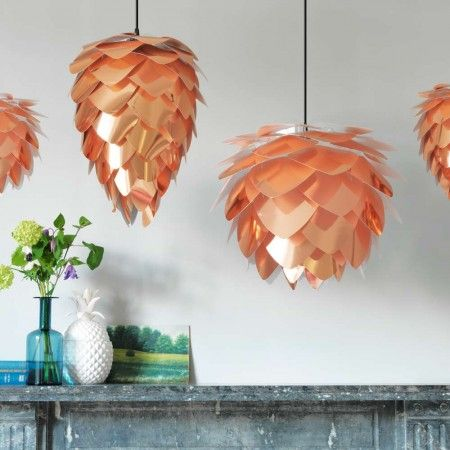 Copper Pendant Shades. Ideal for hallways, living rooms, dining rooms and bedrooms, these stunning shades are crafted from polycarbonate and polypropylene and designed to hide the lightbulb inside.