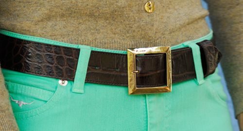 Solid brass box detachable buckle £35 shown on brown croc belt £75.