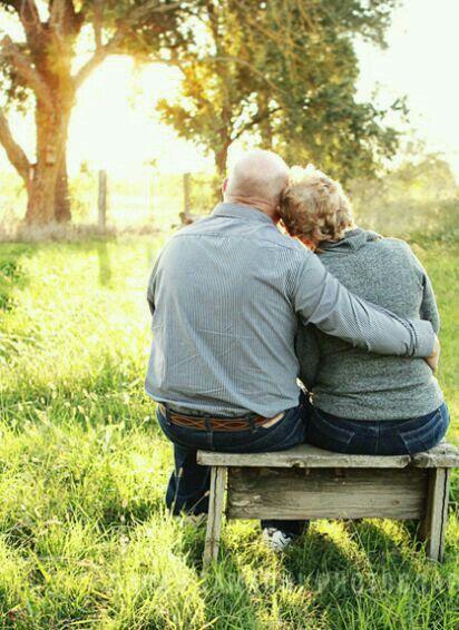 Romantic elder senior couple