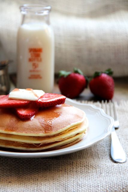 Ricotta Pancakes with Strawberry Maple Syrup.