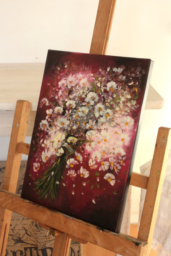 Daisies on pink by BarbaraGallery on Etsy