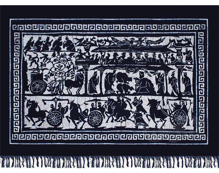 贵州苗族手工蜡染画壁挂蜡染装饰画蜡染毛边画 朝圣图120x85cm-淘宝网