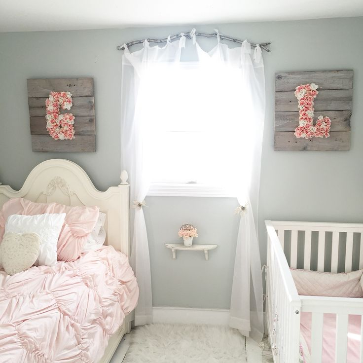 Little girls bedroom shabby chic branch curtain rod target bedding @littlebrownnest