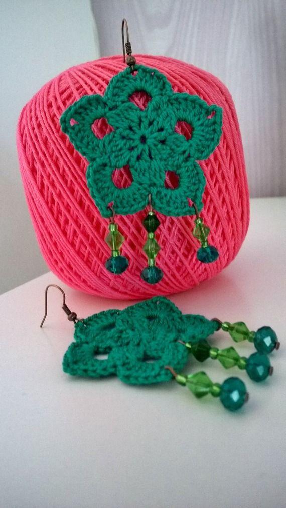 Boho Flower Crocheted Earrings with Beads