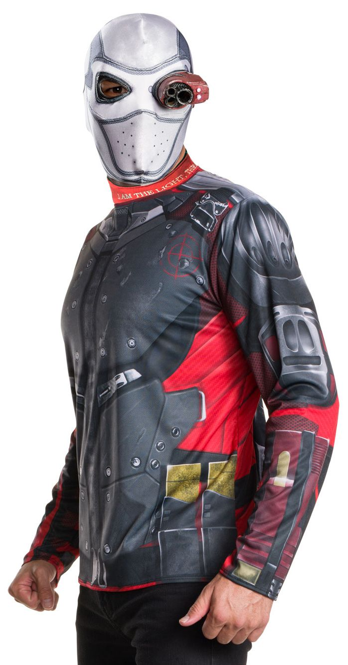 Become the ultimate evil comic book villian and battle the good guys in this mens Suicide Squad Deadshot costume .